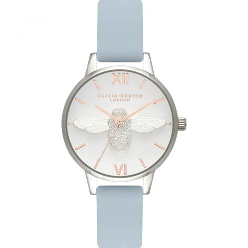Ladies' Olivia Burton Moulded Bee Chalk Blue and Silver watch