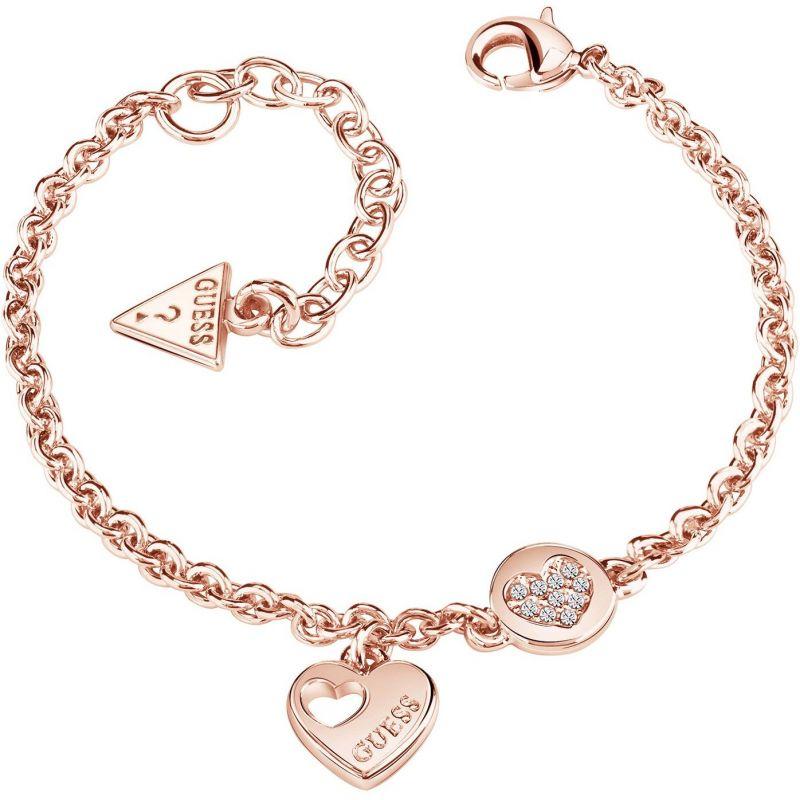 Ladies Guess Rose Gold Plated Heart Devotion Bracelet UBB82059-L