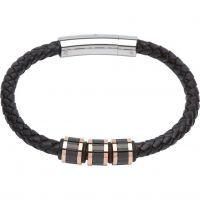 Herren Unique Edelstahl & Leder Armband