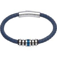 Mens Unique & Co Stainless Steel & Leather Bracelet