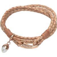 Damen Unique Edelstahl & Leder With Perle Anhänger Armband