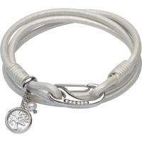 Ladies Unique & Co Stainless Steel & Leather Pearl & Tree Charm Bracelet