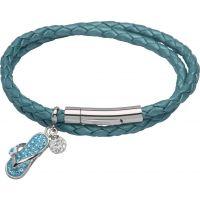 Damen Unique Edelstahl & Leder Sandale & Kristall Ball Anhänger Armband