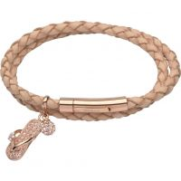 femme Unique & Co & Leather Sandal & Crystal Ball Charm Bracelet Watch B305NA/19CM