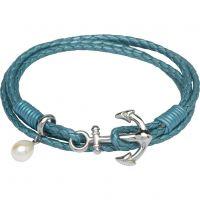 femme Unique & Co & Leather Anchor Clasp & Pearl Charm Bracelet Watch B313TT/19CM