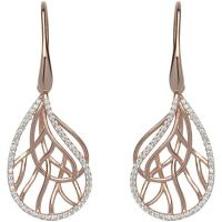 Ladies Unique Rose Gold Plated Sterling Silver Earrings ME-551