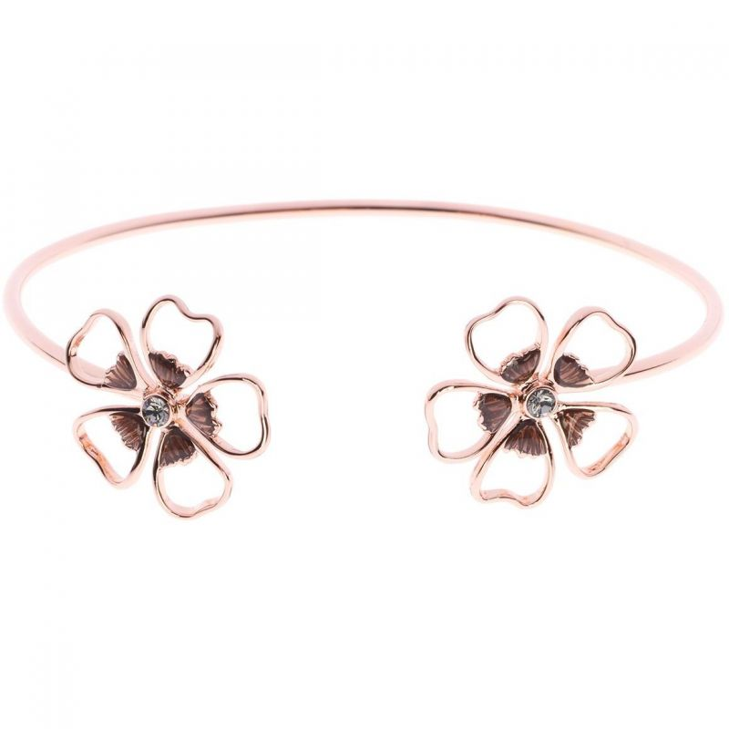 Ladies Ted Baker Rose Gold Plated Leveni Enamel Double Flower Ultrafine Cuff TBJ1242-24-23