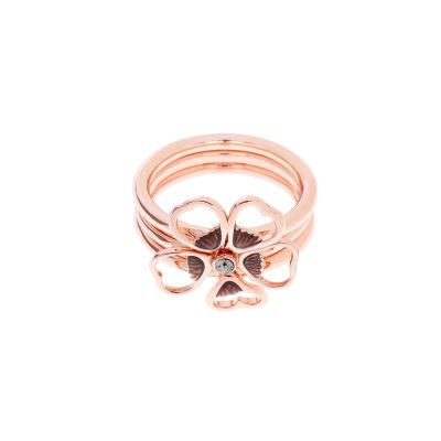 Ladies Ted Baker Rose Gold Plated Leotie Enamel Flower Stacking Ring ML TBJ1243-24-23ML