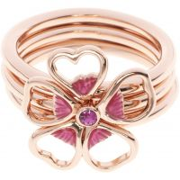 Ladies Ted Baker Rose Gold Plated Leotie Enamel Flower Stacking Ring SM TBJ1243-24-73SM
