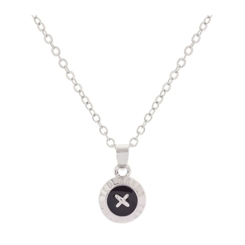 Ladies Ted Baker Silver Plated Elvina Enamel Mini Button Pendant Necklace TBJ1260-01-05