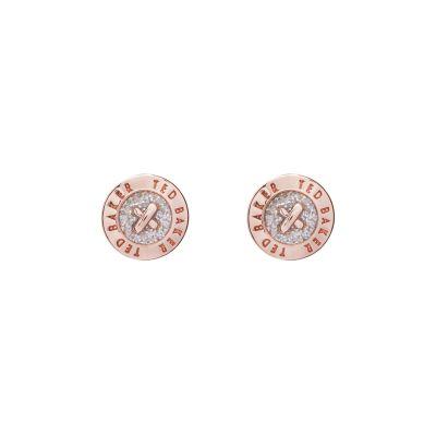 Ladies Ted Baker Rose Gold Plated Eisley Enamel Mini Button Earring TBJ1266-24-138
