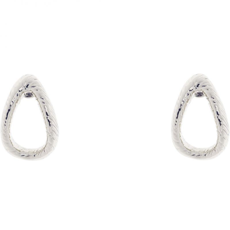 Ladies Ted Baker Silver Plated Tiiana Textured Hoop Small Stud Earring TBJ1288-01-03
