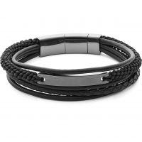 Mens Fossil Black Ion-plated Steel Vintage Casual Bracelet JF02378793
