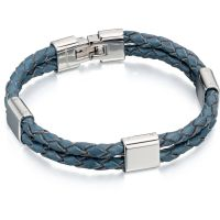 Mens Fred Bennett Stainless Steel & Leather Bracelet
