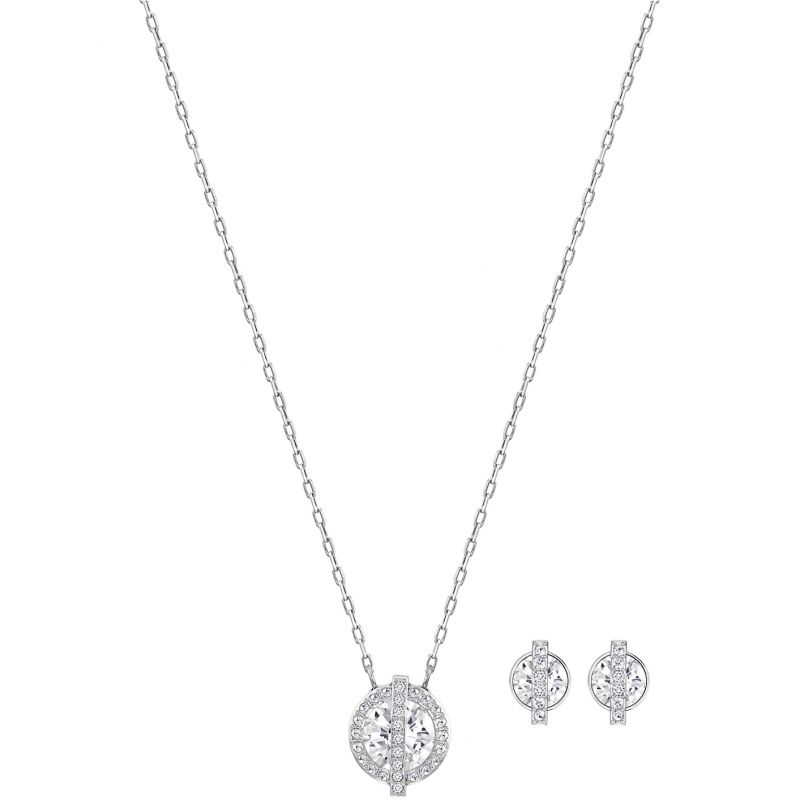 Ladies Swarovski Rhodium Plated Favor Gift Set 5226391