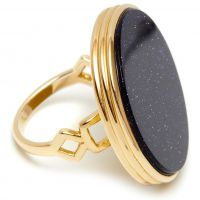 Ladies Lola Rose Gold Plated Blue Sandstone Garbo Circle Ring 594592