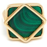 Ladies Lola Rose Gold Plated Malachite Garbo Square Ring 583558