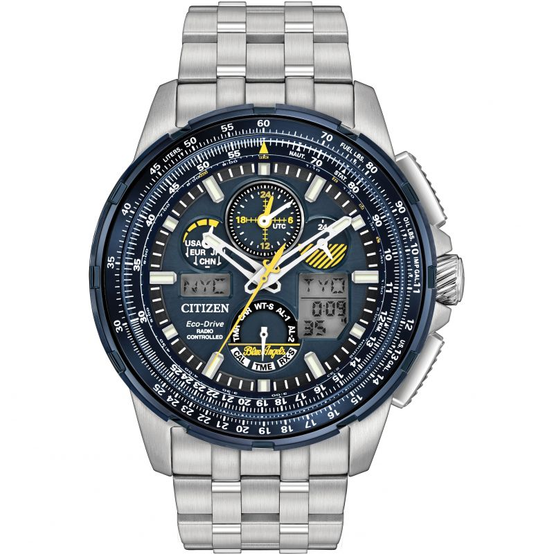 Mens Citizen Skyhawk A-T Blue Angels Alarm Chronograph Radio Controlled Watch