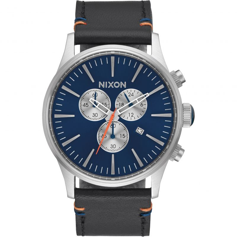Mens Nixon The Sentry Chrono Leather Chronograph Watch A405-1258