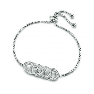 Bijoux Femme Folli Follie Fashionably Silver Knots Toggle Bracelet 5010.3244
