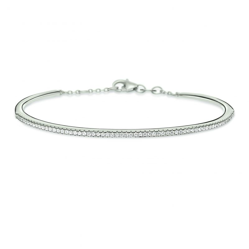 Ladies Folli Follie Sterling Silver Fashionably Silver Sparkle Ball Clasp Bracelet 5010.3352