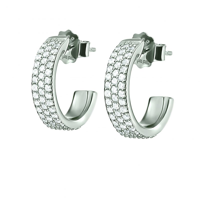 Folli Follie Dames Fashionably Silver Sparkle Mini Hoop Earrings Sterling Zilver 5040.2681