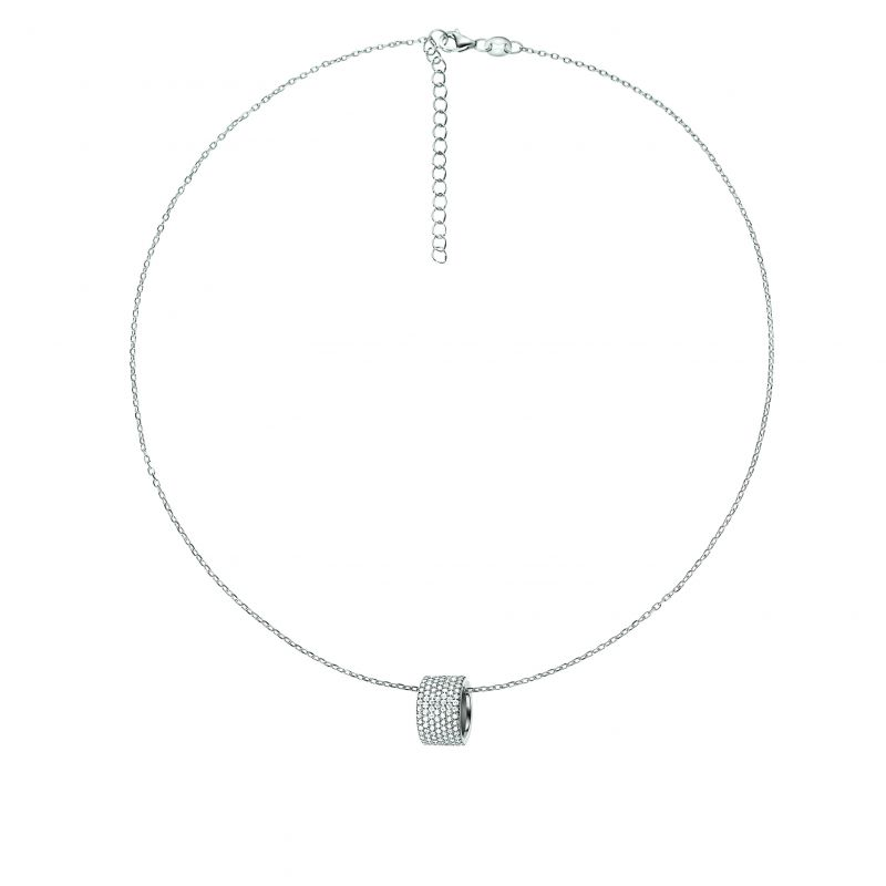 Ladies Folli Follie Sterling Silver Fashionably Silver Hoop Pendant Necklace 5020.3085