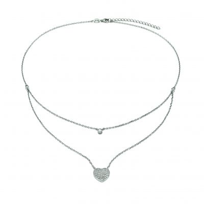 Bijoux Femme Folli Follie Fashionably Silver Love Hearts Double Chaîne Collier 5020.3033
