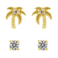 Ladies Juicy Couture Base metal Juicy Palm Expressions Stud Earrings Set WJW71008-712