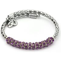Ladies Chrysalis Silver Plated Bohemia Freedom Amethyst Crystal Wrap Bangle