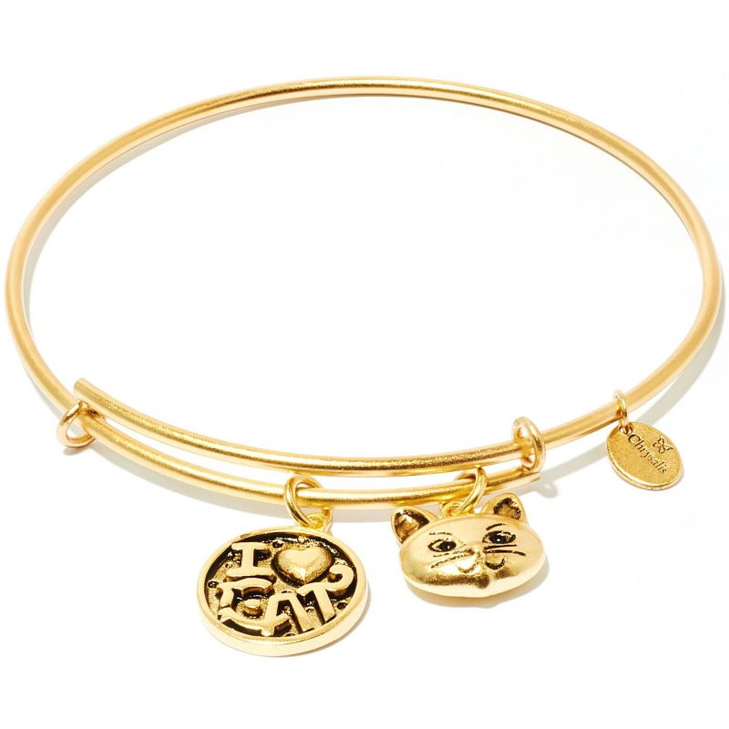 Ladies Chrysalis Gold Plated Friend & Family I Love Cat Expandable Bangle CRBT0712GP