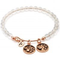 Ladies Chrysalis Rose Gold Plated Tranquility Truth White Quartz Bangle