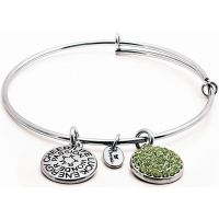 Chrysalis Dames Good Fortune August Peridot Crystal Expandable Bangle Verguld Zilver CRBT0108SP