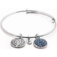 Ladies Chrysalis Silver Plated Good Fortune September Sapphire Crystal Expandable Bangle