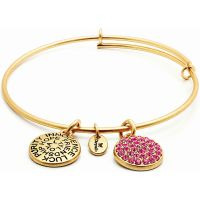 Chrysalis Dames Good Fortune October Pink Tourmaline Crystal Expandable Bangle Verguld goud CRBT0110GP