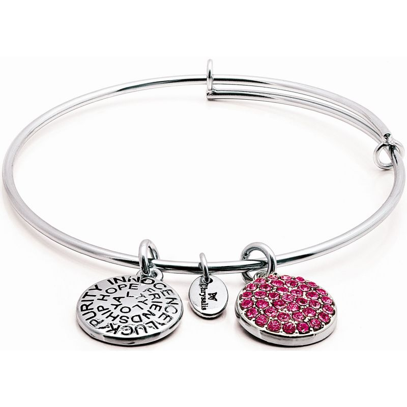 Ladies Chrysalis Silver Plated Good Fortune October Pink Tourmaline Crystal Expandable Bangle CRBT0110SP