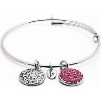 Ladies Chrysalis Silver Plated Good Fortune October Pink Tourmaline Crystal Expandable Bangle