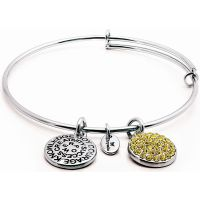 Ladies Chrysalis Silver Plated Good Fortune November Citrine Crystal Expandable Bangle