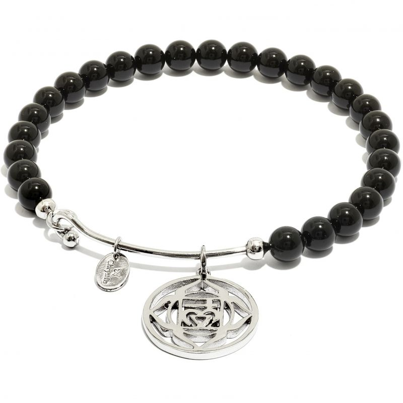 Ladies Chrysalis Silver Plated Happiness Chakra Black Onyx Root Bangle CRBH0701SP