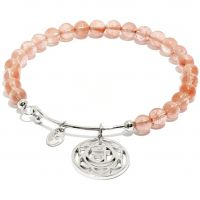 Ladies Chrysalis Silver Plated Happiness Chakra Watermelon Quartz Sacral Bangle CRBH0702SP