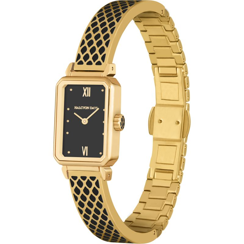 Salamander Black & Gold Bangle Watch