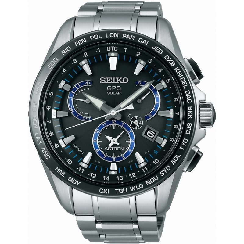 Mens Seiko Astron GPS Chronograph Solar Powered Watch