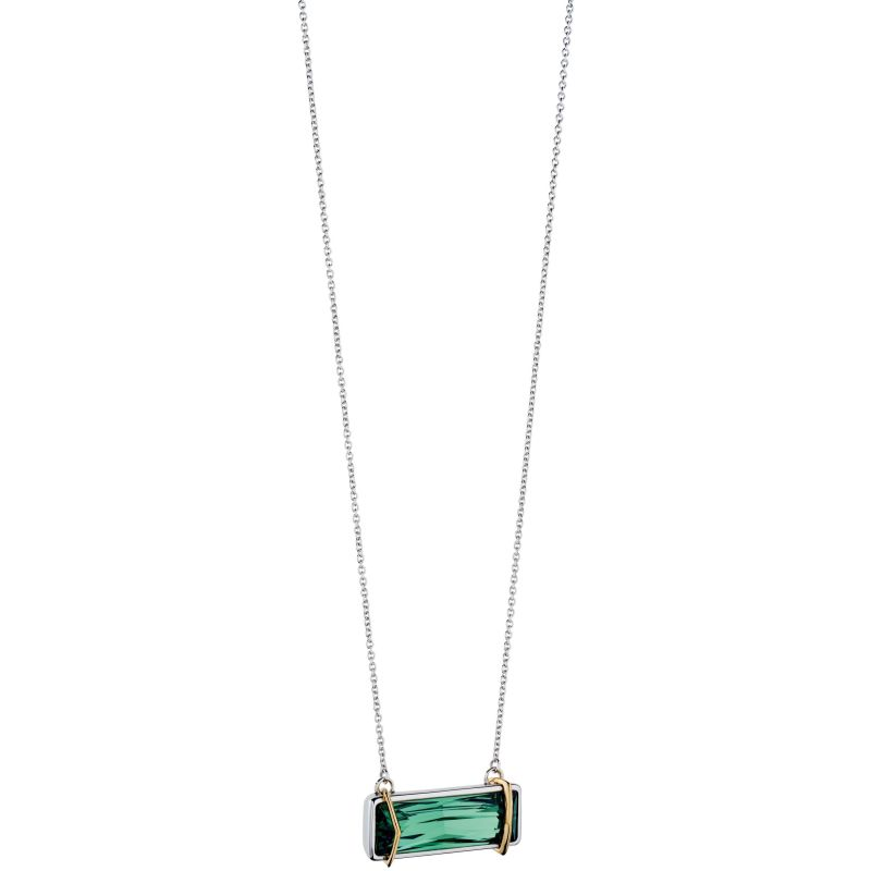 Ladies Fiorelli Sterling Silver Green Crystal Necklace N3956G