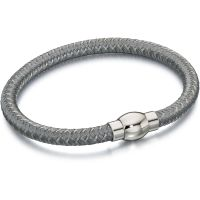 Mens Fred Bennett Silver Plated Grey Nylon Bracelet B4735