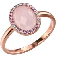 Ladies Elements Sterling Silver Rose Quartz and Cubic Zirconia Ring Size N