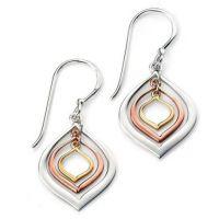 Ladies Elements Sterling Silver Open Marquis Earrings E4893