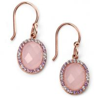 Ladies Elements Sterling Silver Rose Quartz and Cubic Zirconia Earrings