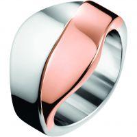 Damen Calvin Klein zweifarbig Stahl/vergoldet Größe O Senses Bico Ring