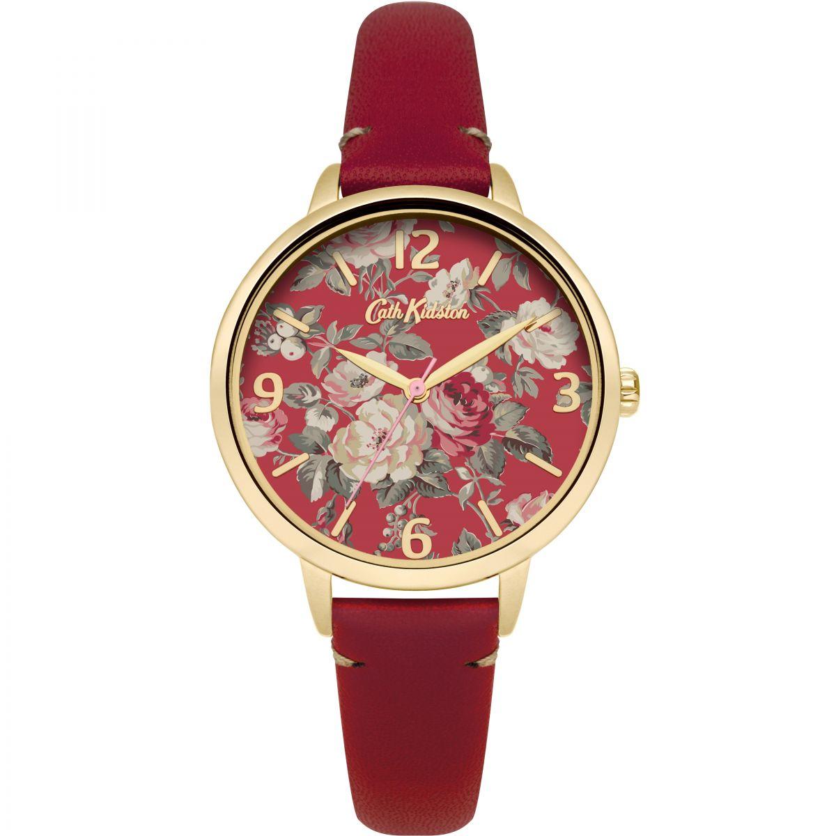 damen cath kidston garten rose rot leder armband uhren ckl001rg. Black Bedroom Furniture Sets. Home Design Ideas