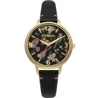 Cath Kidston British Birds Black Leather Strap Damklocka Svart CKL001BG